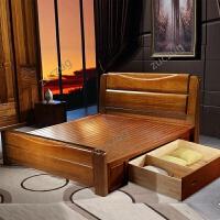 zuczug进口金丝胡桃木实木床现代新中式简约双人床1.5米1.8主卧室套房