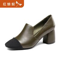 【红蜻蜓领�涣⒓�150】金粉世家 红蜻蜓旗下 真皮女单鞋春秋季粗跟通勤舒适女鞋