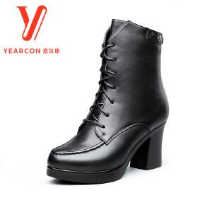 意尔康女靴2017秋冬新款英伦风中筒加绒保暖高跟棉靴铆钉粗跟女靴