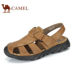camel 骆驼男鞋 夏季户外休闲包头防撞牛皮透气男士凉鞋