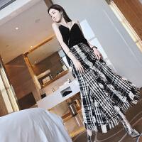 20180826045721695女春装新款流苏格子复古高腰半身裙长裙女裙 格子