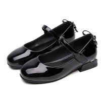 拥抱熊女童高跟鞋小公主2018新款春秋儿童皮鞋黑色女孩单鞋韩版浅口瓢鞋