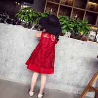 女童连衣裙 儿童夏装新款韩版蕾丝公主裙纯色百褶女孩背心裙