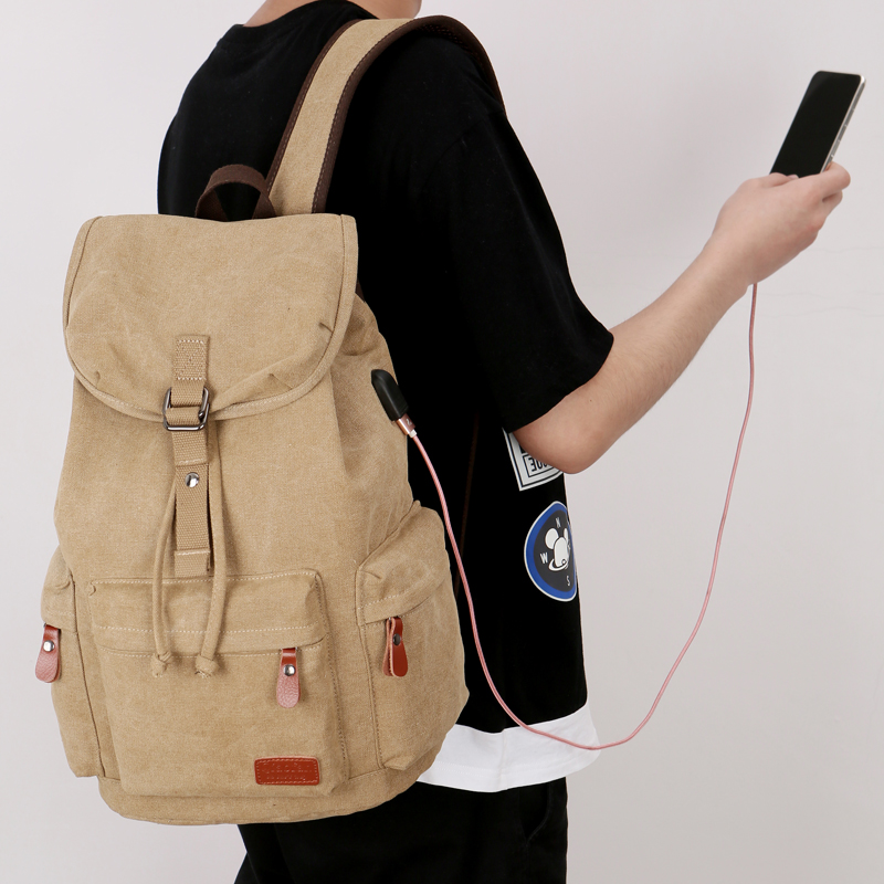 背包时尚潮流帆布双肩包休闲旅游包电脑包高中学生书包男