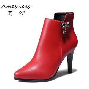阿么2017秋冬欧美百搭细跟高跟鞋水钻蝴蝶结短靴舒适切西尔靴