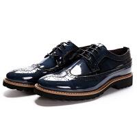 英伦布洛克男鞋真皮雕花绅士时尚休闲复古擦色亮面皮鞋软底