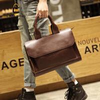 原创新款潮包时尚休闲男包男士复古单肩包商务公文包英伦风手提包