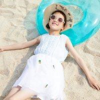 【5.16-5.17日抢购价:45】moomoo童装女童裙装夏季新款女中童麻粘拼网纱无袖连衣裙