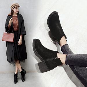 ZHR2018秋冬季新款切尔西靴粗跟短靴韩版女靴高跟马丁靴百搭靴子
