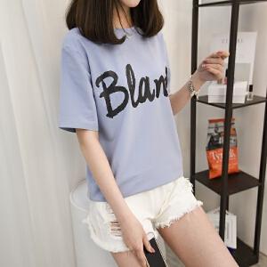 2018夏季新款纯棉字母印花短袖T恤女圆领韩版半袖宽松春装