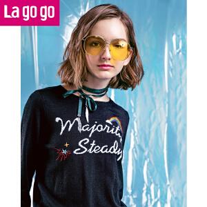 Lagogo2018春季新款圆领套头毛衣短款上衣长袖黑色T恤针织衫女