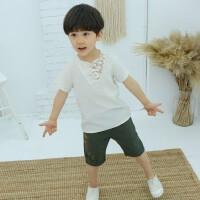 宝宝衣服夏中国风童装表演演出服小童汉服棉麻婴幼儿短袖套装夏