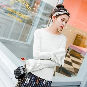 七格格喇叭袖针织衫女秋季新款温柔风小清新修身显瘦长袖毛衣