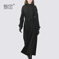 【新年狂欢到手价:723】魅斑黑色气质毛呢大衣女秋冬2019流行赫本风长款修身显瘦呢子外套