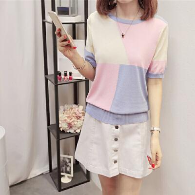 短袖T恤女2018夏装新款韩版圆领套头冰丝针织衫宽松拼色半袖上衣