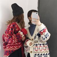 几何图案长袖针织开衫外套女2018春季新款韩版百搭显瘦学生上衣