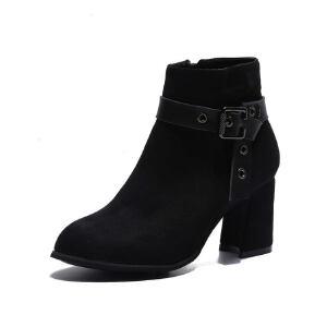 WARORWAR新品YM82-T355冬季韩版磨砂反绒粗跟高跟女士靴子切尔西靴短靴