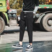 秋季新款百搭休闲裤男宽松哈伦运动裤韩版潮流学生大码九分裤 黑色 K822