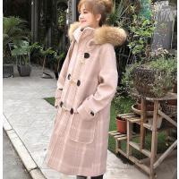 粉色毛呢外套女中长款学生毛领流行格子大衣呢子