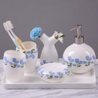 牙具欧式洗漱套件 新婚骨瓷浴室用品漱口杯陶瓷卫浴套装
