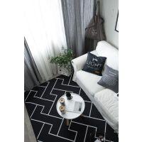 ???欧式简约黑白客厅茶几地毯卧室床边地垫现代长方形沙发进门垫 乳白色 简约线条Z