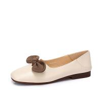 骆驼女鞋 新款优雅大方浅口女单鞋 蝴蝶结真皮休闲舒适乐福鞋