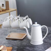 北欧简约蓝线陶瓷咖啡杯茶具套装大水壶家用凉水壶老男孩同款 1壶