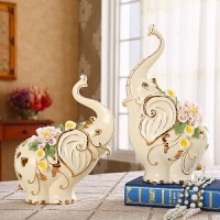 【支持礼品卡支付】欧式陶瓷大象摆件招财客厅电视柜装饰工艺品乔迁礼物结婚礼品创意