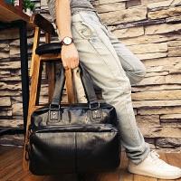 真皮手提旅行包男短途出差轻便潮手提包旅游大容量横款男士行李包 S-黑色 大