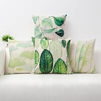 咪卜清新植物叶子布艺抱枕靠垫办公室椅腰靠腰背沙发床头靠枕 组合套餐一( )