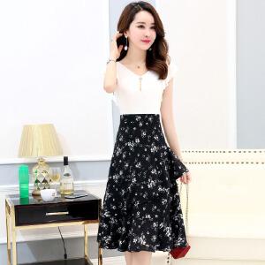 中长款女夏2018新款35岁到45的女人夏天冷淡风雪纺碎花连衣裙夏季