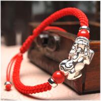 情侣银饰品手串生日礼物 本命年貔貅红绳手链