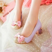 四季韩版女大童蝴蝶结儿童皮鞋小女孩公主高跟鞋舞蹈表演鞋