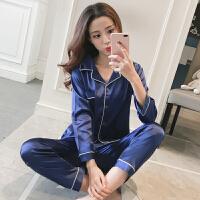 韩版情侣性感睡衣女春秋两件套装长袖薄款男士家居服 蓝色 女款