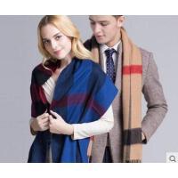 新品时尚韩版潮百搭羊毛围巾女长款披肩男加厚保暖格子围脖
