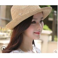新品拉菲韩版遮阳帽出游沙滩草帽女可折叠草帽女