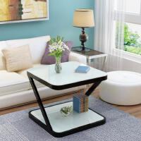 方形圆角边桌茶几玻璃客厅组合简约现代卧室小餐桌经济型方机磨砂