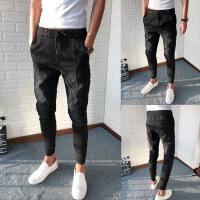 社会人牛仔裤男修身弹力小脚裤黑色显瘦束脚裤快手网红同款 黑色