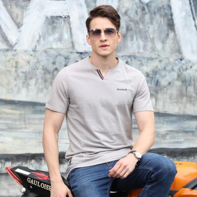 吉普盾2018夏装薄款V领宽松休闲大码短袖T恤 806男polo衫 休恤衫