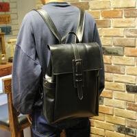 复古休闲双肩包男士背包电脑包学院风日韩学生书包男PU皮旅行潮包 黑色