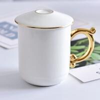 陶瓷茶杯单个陶瓷马克杯创意骨瓷带盖杯子礼品盖杯水杯 401-500ml