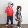 韩版童撞色连帽装外套中小童外套中小童时尚风衣