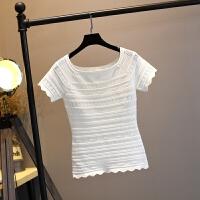 女款短袖2018T恤短款冰丝针织衫百搭配裙子的上衣女夏季