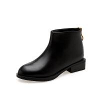 冬秋款小短靴女小跟2018新款中粗跟切尔西短筒马丁软底
