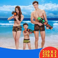 沙滩游泳池小孩戏水枪儿童喷水玩具大号抽拉式高压打水仗