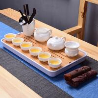 日式茶具套装德化白瓷功夫茶具整套茶壶茶杯盖碗简约家用现代茶盘