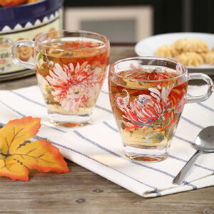 Evergreen爱屋格林创意玻璃杯真金贴花加厚时尚家用对杯水杯子