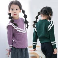 毛衣女童秋冬韩版公主木耳边打底套头中小童内搭上衣针织毛衣外套