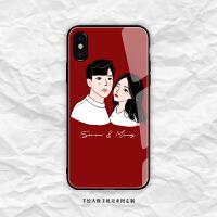 情侣来图定制卡通手绘人像玻璃壳iphone秀恩爱磨砂壳华为手机壳9