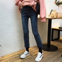 初恋裤女学生2018流行女装新款韩版bf不规则高腰牛仔裤紧身铅笔裤